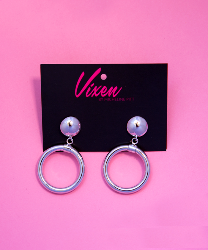 Bad Girl Hoop Earrings in Silver - Vixen by Micheline Pitt