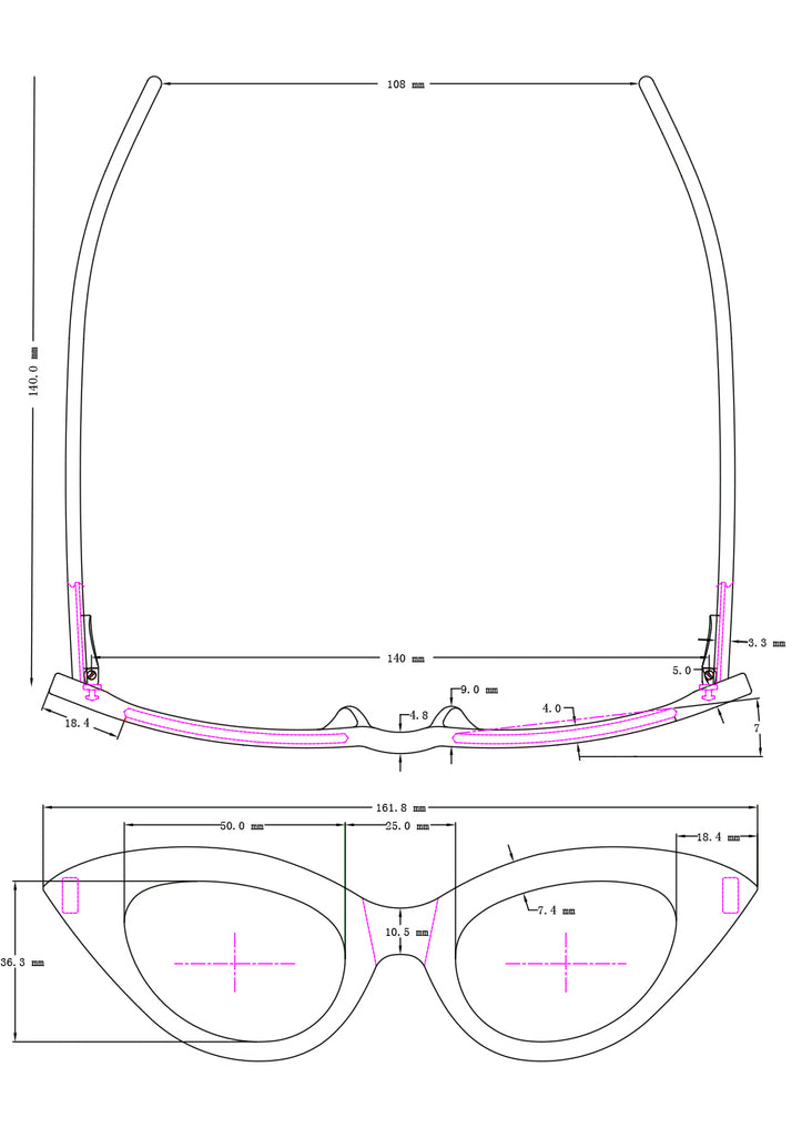 Drawing of measurements of the Fashion Doll sunglasses.