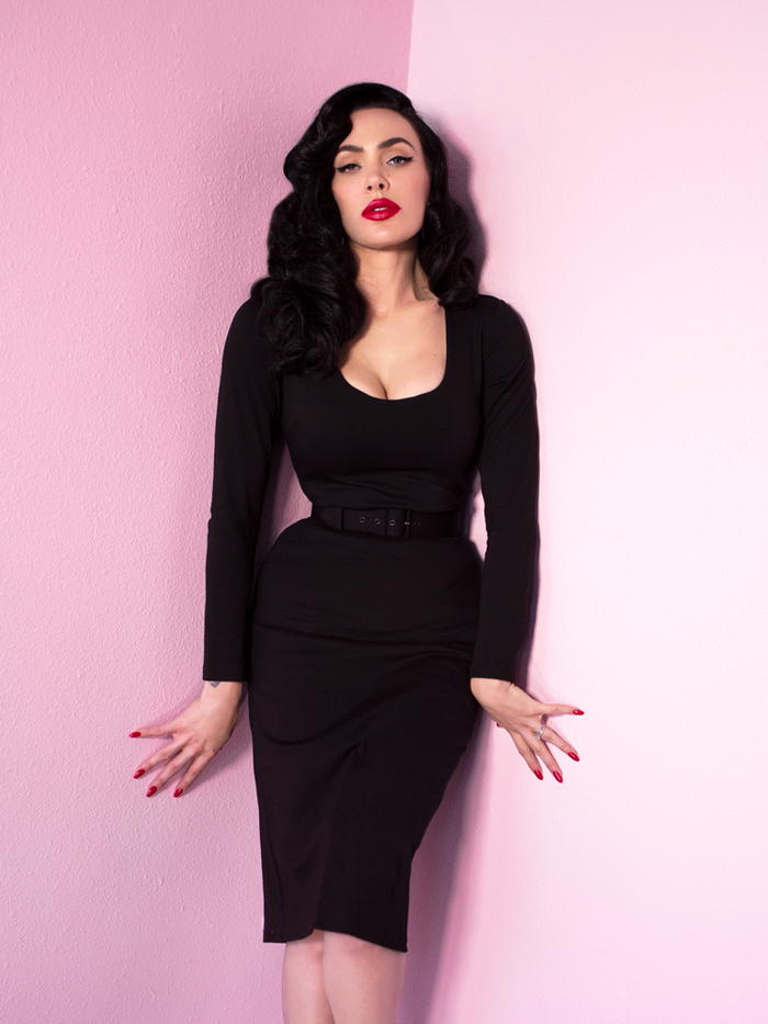 Troublemaker Wiggle Dress in Raven Black - Vixen by Micheline Pitt
