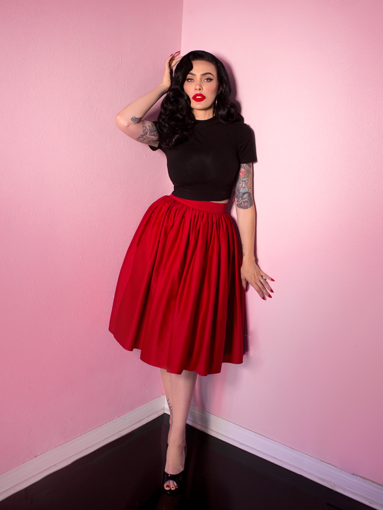 PRE-ORDER - Vixen Swing Skirt in  Red - Vixen by Micheline Pitt