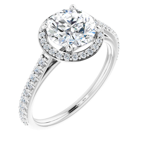 2.0 CTW Round Cut Forever One Moissanite | 14K White Gold Halo Engagement Ring with Pave Band | Size 7
