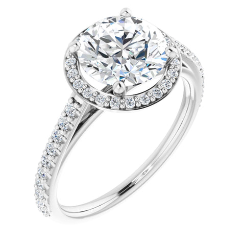 2.37 CTW Round Cut Forever One Moissanite | 14K White Gold Halo Engagement Ring with Pave Band | Size 7
