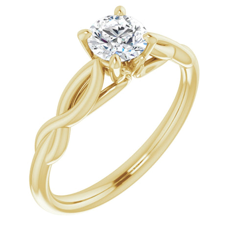 .50 Carat Round Cut Forever One Created Moissanite set in Solid 14K Yellow Gold Infinity-Inspired Solitaire Engagement Ring Size 7