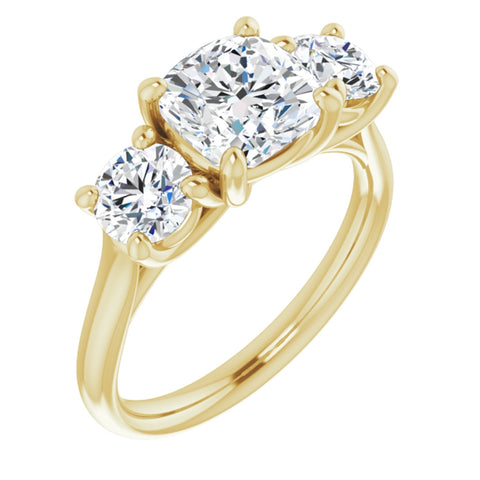2.88 CTW Cushion Cut Forever Brilliant Moissanite | 14K Yellow Gold Three Stone Engagement Ring Anniversary Band | Size 7