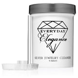 Silver Jewelry Cleaning Solution Kit | Liquid Cleanser, Polishing Cloth, Basket | for Sterling Jewelry, Coins | 6 Ounce Jar