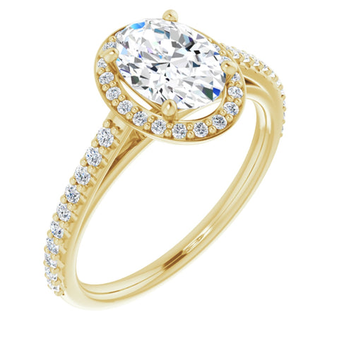 1.54 CTW Oval Cut Forever One Moissanite | 14K Yellow Gold Halo Engagement Ring with Pave Band | Size 7