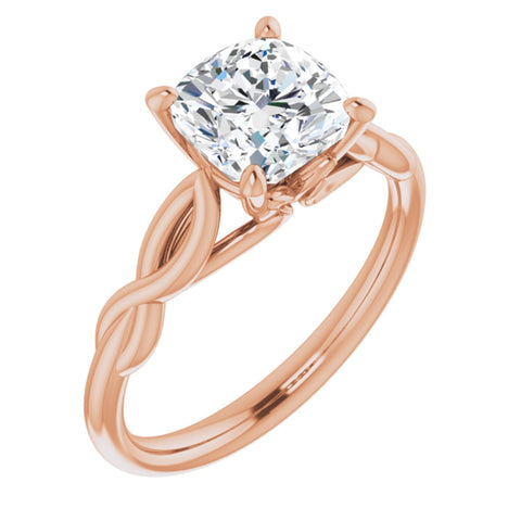 1.75 CT Cushion Cut Forever Brilliant Moissanite in Solid 14K Rose Gold Infinity Solitaire Engagement Ring