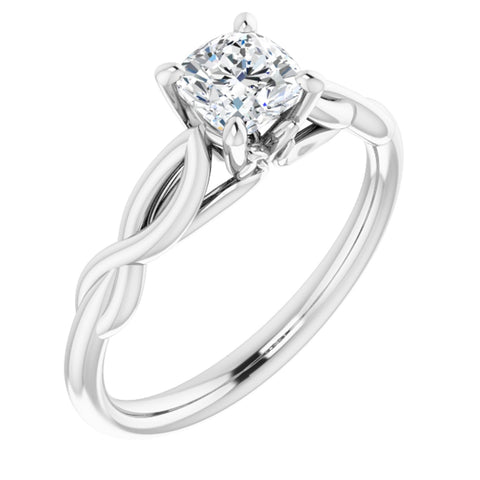 .625 CT Cushion Cut Forever One Moissanite in Solid 14K White Gold Infinity Solitaire Engagement Ring