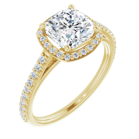 2.29 CTW Cushion Cut Forever One Moissanite | 14K Yellow Gold Halo Engagement Ring with Pave Band | Size 7