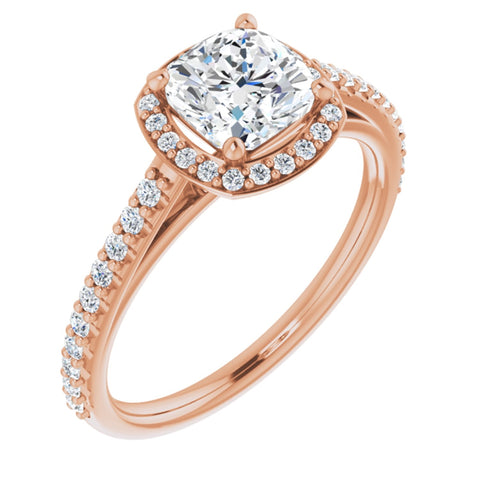 1.57 CTW Cushion Cut Forever Brilliant Moissanite | 14K Rose Gold Halo Engagement Ring with Pave Band | Size 7