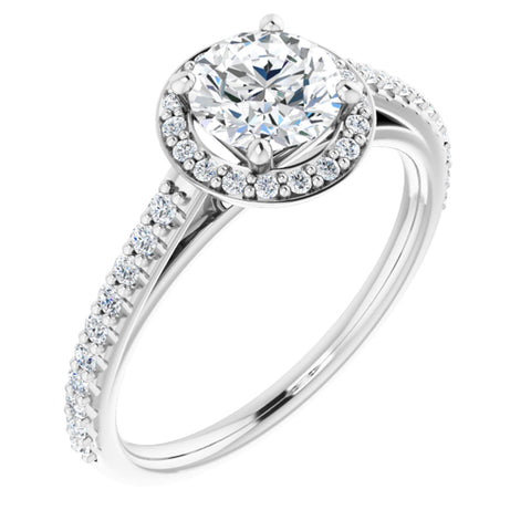 1.17 CTW Round Cut Forever One Moissanite | 14K White Gold Halo Engagement Ring with Pave Band | Size 7