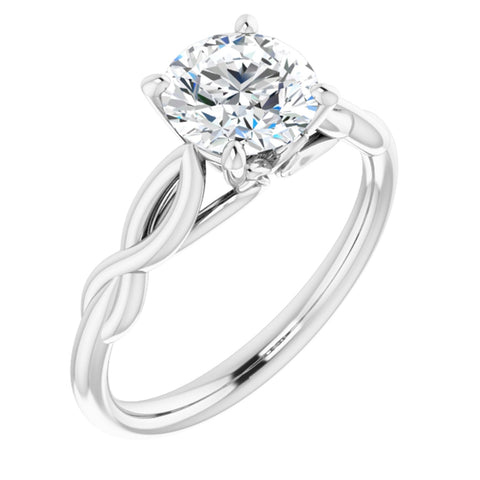 1.25 Carat Round Cut Forever One Created Moissanite set in Solid 14K White Gold Infinity-Inspired Solitaire Engagement Ring Size 7