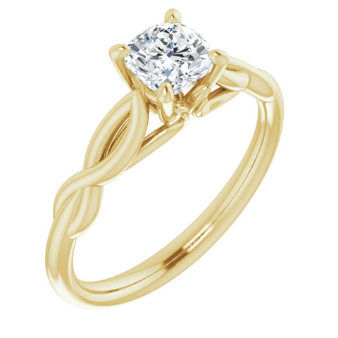 .625 CT Cushion Cut Forever Brilliant Moissanite in Solid 14K Yellow Gold Infinity Solitaire Ring