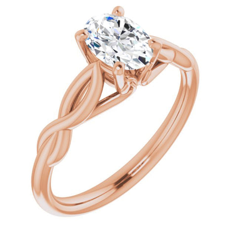.90 Carat Oval Cut Forever Brilliant Created Moissanite set in Solid 14K Rose Gold Infinity-Inspired Solitaire Engagement Ring Size 7