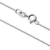 14K Solid White Gold Necklace | Box Link Chain | 22 Inch Length | .60mm Thick
