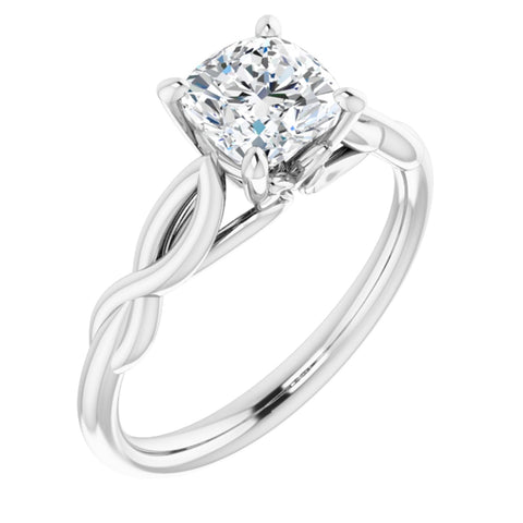 1.125 CT Cushion Cut Forever One Moissanite in Solid 14K White Gold Infinity Solitaire Engagement Ring