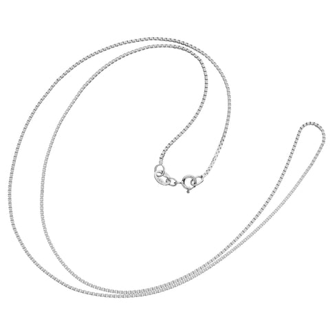 14K Solid White Gold Necklace | Box Link Chain | 18 Inch Length | 1.0mm Thick
