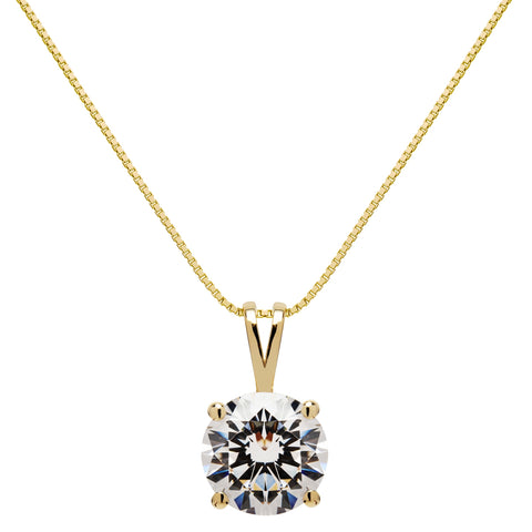 14K Solid Yellow Gold Pendant Necklace | Round Cut Cubic Zirconia Solitaire | 2.0 Carat | 16 Inch .60mm Box Link Chain