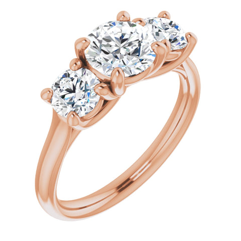 2.2 CTW Round Cut Forever Brilliant Moissanite | 14K Rose Gold Three Stone Engagement Ring Anniversary Band | Size 7