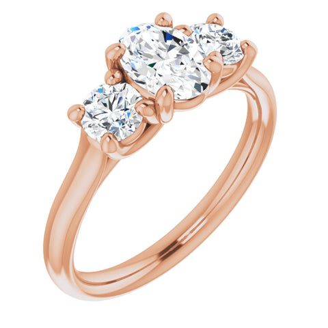 1.26 CTW Oval Cut Forever Brilliant Moissanite | 14K Rose Gold Three Stone Engagement Ring Anniversary Band | Size 7