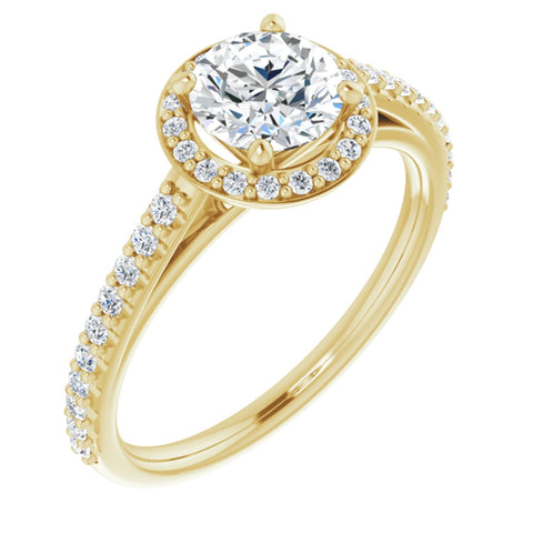 1.17 CTW Round Cut Forever One Moissanite | 14K Yellow Gold Halo Engagement Ring with Pave Band | Size 7