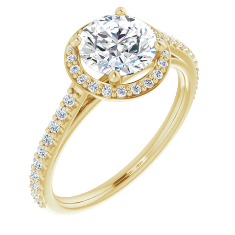 1.61 CTW Round Cut Forever Brilliant Moissanite | 14K Yellow Gold Halo Engagement Ring with Pave Band | Size 7