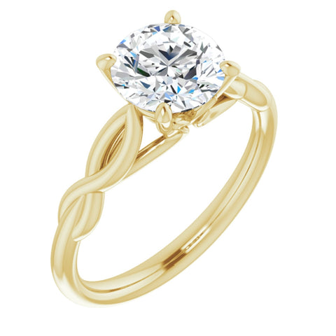 1.50 CT Round Cut Forever Brilliant Moissanite in Solid 14K Yellow Gold Infinity Solitaire Engagement Ring