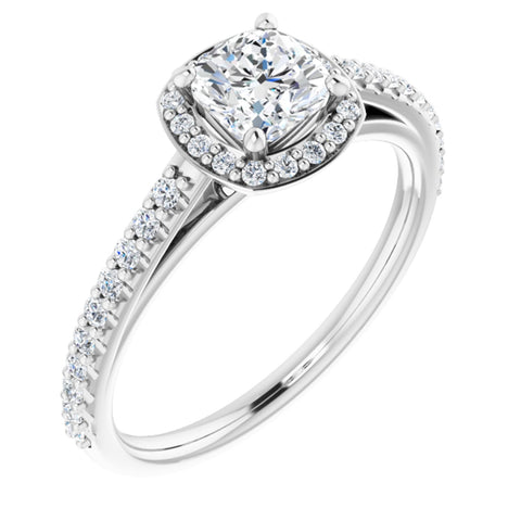 1.04 CTW Cushion Cut Forever One Moissanite | Platinum Halo Engagement Ring with Pave Band | Size 7