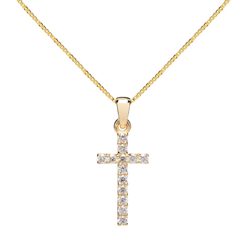 14K Solid Yellow Gold Cross | Pave Round Cut Cubic Zirconia Pendant Necklace | 15mm Long .30 CTW | 18 Inch .60mm Box Link Chain | With Gift Box
