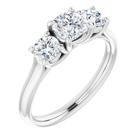 1.21 CTW Cushion Cut Forever One Moissanite | Platinum Three Stone Engagement Ring Anniversary Band | Size 7
