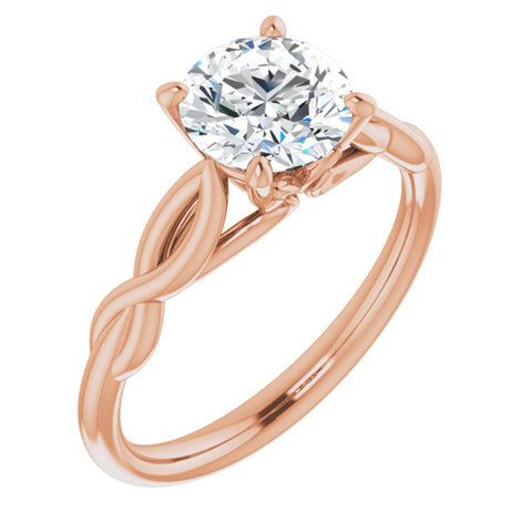1.25 Carat Round Cut Forever One Created Moissanite set in Solid 14K Rose Gold Infinity-Inspired Solitaire Engagement Ring Size 7