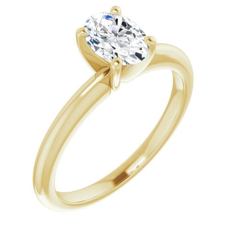 .90 Carat Oval Cut Forever Brilliant Created Moissanite set in Solid 14K Yellow Gold Classic Solitaire Engagement Ring Size 7