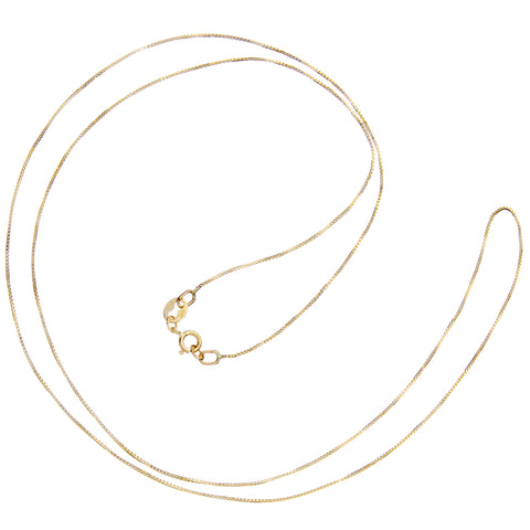14K Solid Yellow Gold Necklace | Box Link Chain | 22 Inch Length | .60mm Thick