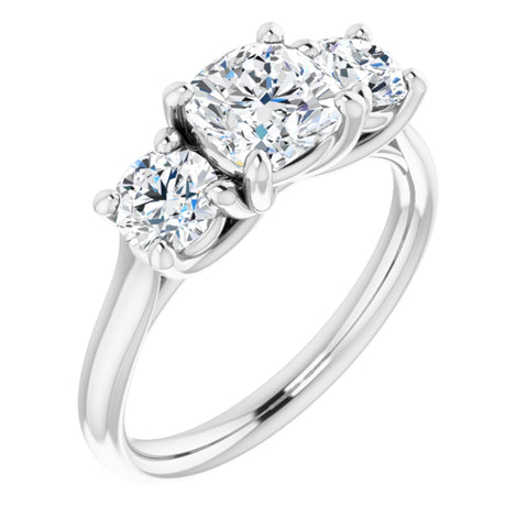 1.96 CTW Cushion Cut Forever One Moissanite | Platinum Three Stone Engagement Ring Anniversary Band | Size 7