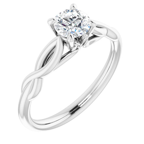 .50 Carat Round Cut Forever One Created Moissanite set in Solid Platinum Infinity-Inspired Solitaire Engagement Ring Size 7