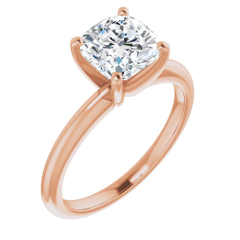 1.75 Carat Antique Square Cushion Cut Forever One Created Moissanite set in Solid 14K Rose Gold Solitaire Engagement Ring Size 7