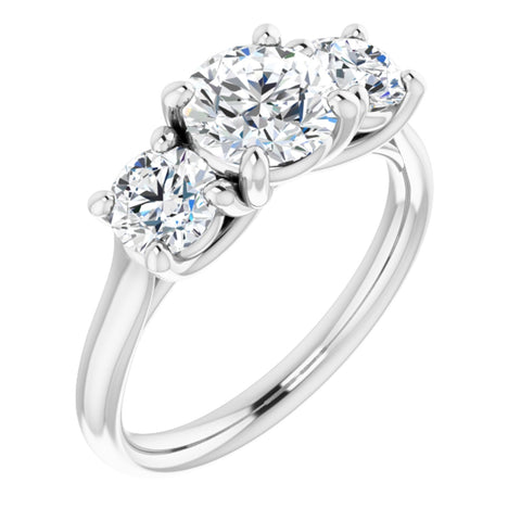 2.59 CTW Round Cut Forever One Moissanite | Platinum Three Stone Engagement Ring Anniversary Band | Size 7