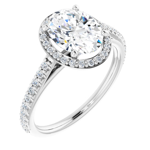 2.19 CTW Oval Cut Forever One Moissanite | 14K White Gold Halo Engagement Ring with Pave Band | Size 7
