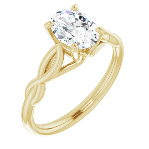 1.50 CT Oval Cut Forever Brilliant Moissanite in Solid 14K Yellow Gold Infinity Solitaire Engagement Ring