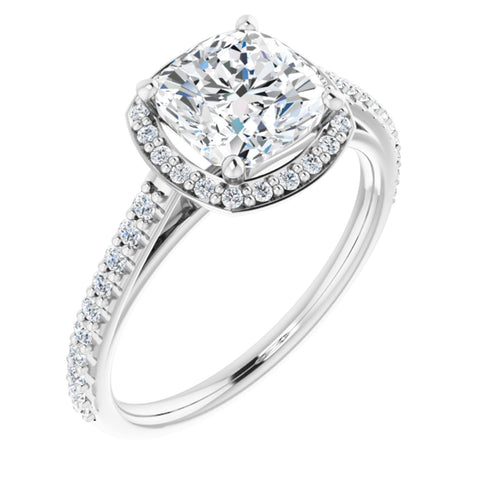 2.29 CTW Cushion Cut Forever Brilliant Moissanite | 14K White Gold Halo Engagement Ring with Pave Band | Size 7