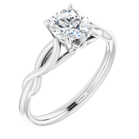 .75 Carat Round Cut Forever One Created Moissanite set in Solid Platinum Infinity-Inspired Solitaire Engagement Ring Size 7