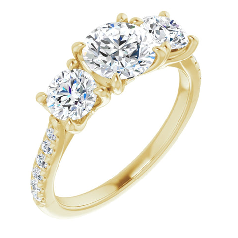 2.12 CTW Round Cut Forever Brilliant Moissanite | 14K Yellow Gold Three Stone Engagement Ring with Pave Band | Size 7