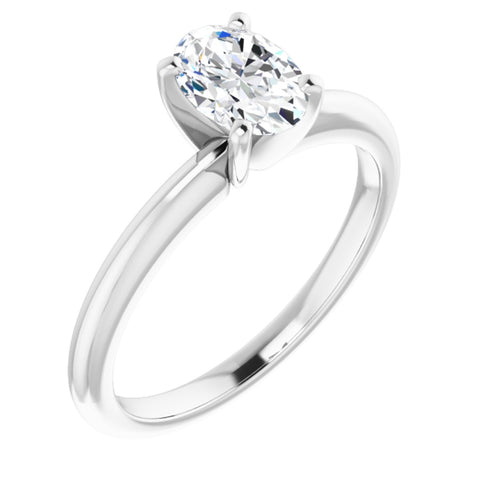 .90 Carat Oval Cut Forever One Created Moissanite set in Solid 14K White Gold Classic Solitaire Engagement Ring Size 7