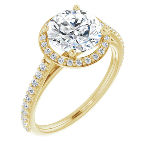 2.37 CTW Round Cut Forever One Moissanite | 14K Yellow Gold Halo Engagement Ring with Pave Band | Size 7