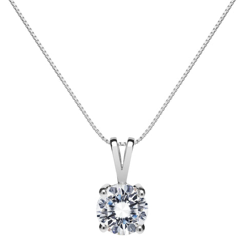 14K Solid White Gold Pendant Necklace | Round Cut Cubic Zirconia Solitaire | 1.0 Carat | 18 Inch .60mm Box Link Chain