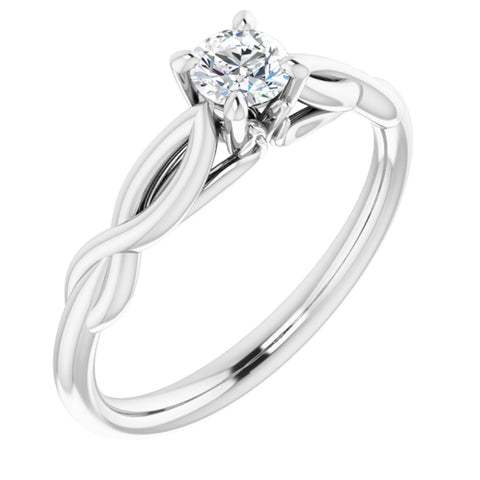 .25 Carat Round Cut Forever One Created Moissanite set in Solid 14K White Gold Infinity-Inspired Solitaire Engagement Ring Size 7