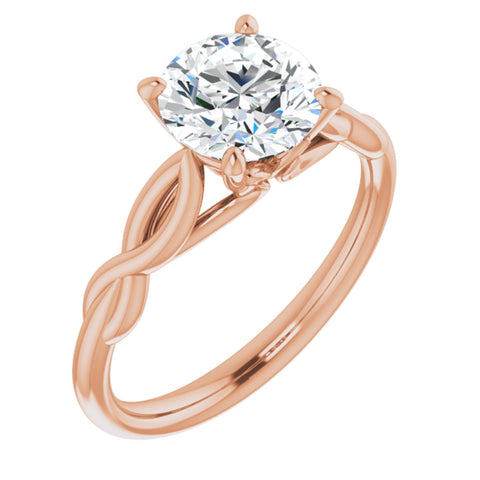 1.50 CT Round Cut Forever Brilliant Moissanite in Solid 14K Rose Gold Infinity Solitaire Engagement Ring