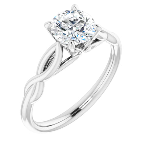 1.0 CT Round Cut Forever Brilliant Created Moissanite set in Solid 14K White Gold Infinity-Inspired Solitaire Engagement Ring Size 7