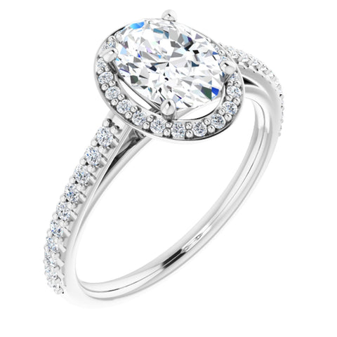 1.54 CTW Oval Cut Forever One Moissanite | 14K White Gold Halo Engagement Ring with Pave Band | Size 7