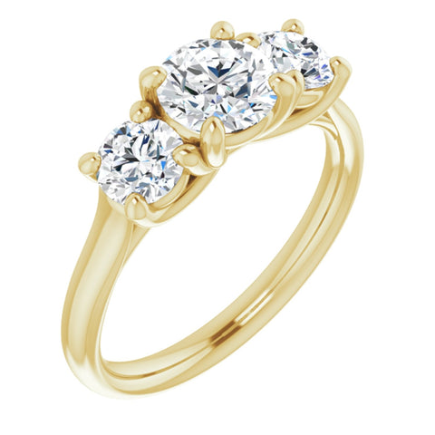 1.56 CTW Round Cut Forever One Moissanite | 14K Yellow Gold Three Stone Engagement Ring Anniversary Band | Size 7